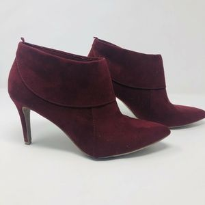 Old Navy Stiletto Heel Faux Suede Red Booties S2